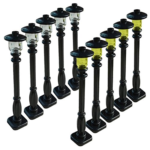 Street Lights Set - Building Block for LEGO Street Light Set of 10- Black Post With Clear Bulb & Black Cover Compatible With Lego