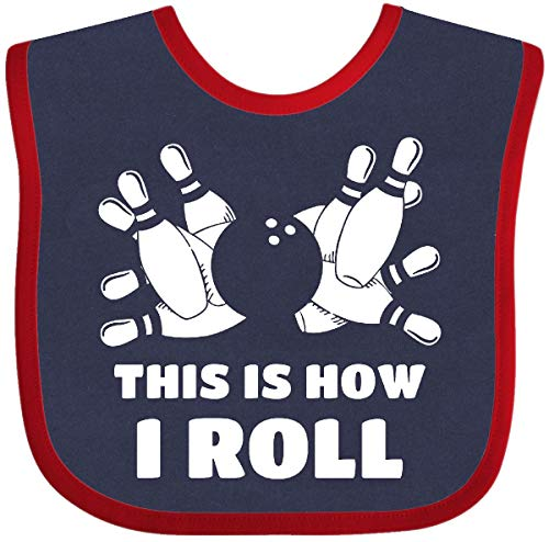 Inktastic - How I Roll Bowling Baby Bib Navy and Red 2a7b2