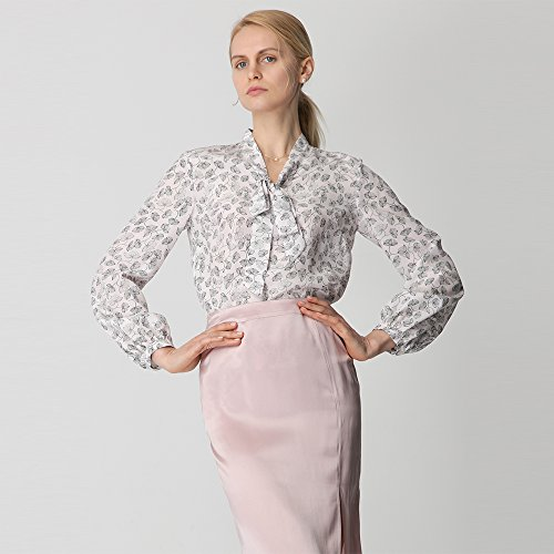 LilySilk Silk Shirts For Women and Ladies Floral Printed Pattern Tie Neck 18MM Pure Mulberry Soft Buttons Long Sleeve Blouse Floral L/12 by LilySilk (Image #3)