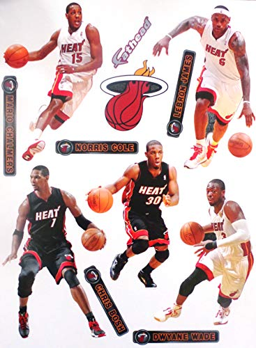 FATHEAD Miami Heat Team Set 5 Players Official NBA Vinyl Wall Graphics - Each Player Graphic 7