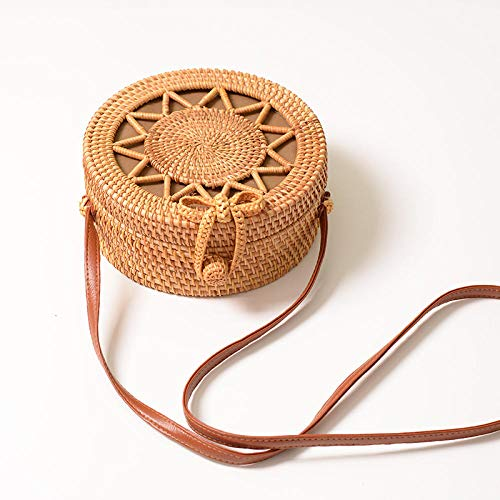 Yanxinenjoy rotting rund väska, strand axelväska, ihålig femuddig stjärna, 20 x 8