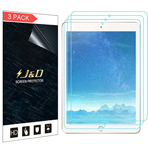 J&D Compatible for 3-Pack iPad 9.7, iPad Pro 9.7, iPad Air, iPad Air 2 Screen Protector, [Not Full Coverage] HD Clear Film Shield Screen Protector for New iPad 9.7 inch 2017 Clear Screen Protector