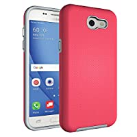 J3 Emerge Case,Berry [Non-slip] Drop Protection Shock Proof Dual Lawyer Hybrid Defender Armor Full Body Rugged Holster Case For Samsung Galaxy J3 2017/ Amp Prime 2 / Express Prime 2