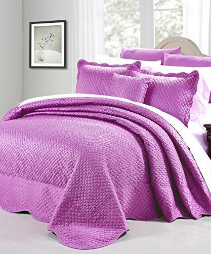 Serenta Matte Satin 4 Piece Bedspread Set, Queen, Purple/...