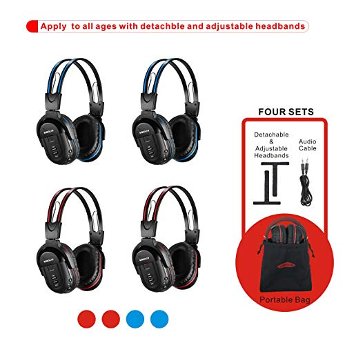 (4 Pack of DVD Wireless Headphones, Car Kids Headphones, IR Headphones for Car Entertainment System, Wireless IR Headphones with Dual Channel)