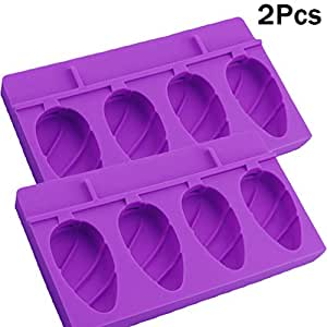 AT MOUSE BPA Free Silicone Mini Easy Ice Cream Bar Soap Mold DIY Pop Popsicle Chocolates Candy Tray Maker with Wooden Sticks