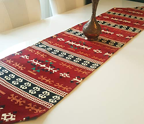 Collection Kitchen Island - Secret Sea Collection Traditional Pattern Table Runner (72'' x 14'', Red-Black)