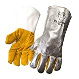John Tillman and Co 822L Leather and Aluminized Kevlar Wool Lined Aluminized Welding Glove with Gauntlet Cuff, Large, Silver/Brown by John Tillman and Co