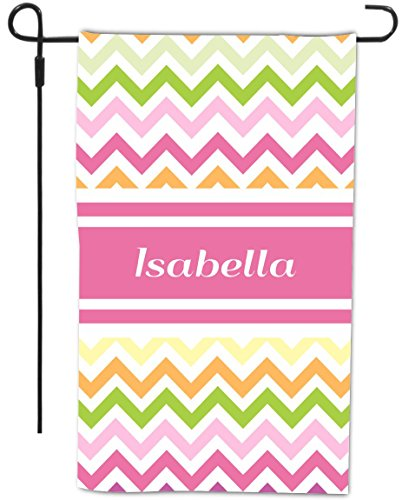 """Rikki KnightTM """"Isabella"""" Pink Chevron Name Design Decorative House or Garden Flag 12 x 18 inch full bleed (Proudly Made in the USA)"""