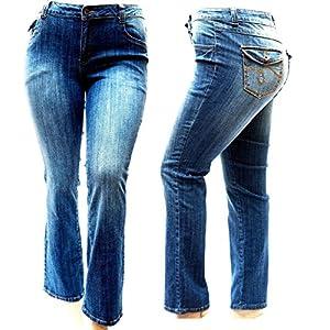 Jack David Womens Plus Size Bootcut/Straight Leg Stretch Relaxed Fit Blue Denim Jeans Pants