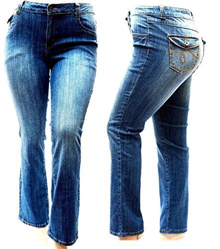 Jack David Womens Plus Size Straight Leg Stretch Relaxed Fit Blue Denim Jeans Pants
