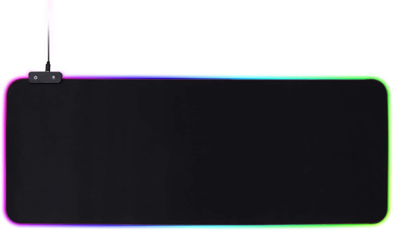 Noir HoYiXi Tapis de Souris RGB Extra Large Tapis de Souris dordinateur LED Embras/é Surface Lisse et Base en Caoutchouc Anti-d/érapant LED Lumineux Tapis de Souris 80 x 30 x 0.4 cm