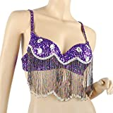 BellyLady Belly Dance Bra-Top With Sequins And Diamond, Purple