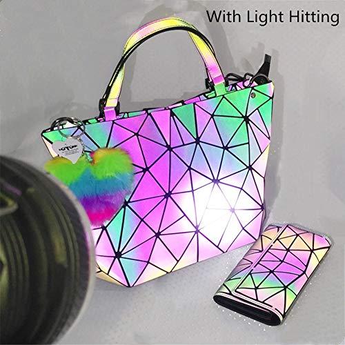 HotOne Geometric Purse Holographic Purse and Handbag Color Changes Luminous Purse for Women (M Purse Only)