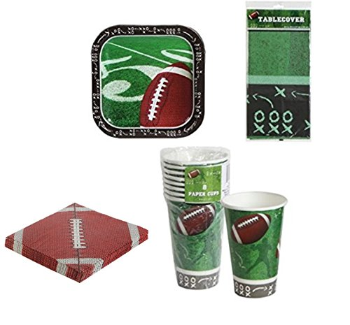 Football Tablecloth Paper Cups Plates Party Supplies Supply Trays NFL Sports Tablecover Superbowl Game Day Tailgate Set of 4 BONUS 60 Count Cutlery set (Paper Food Trays Walmart)