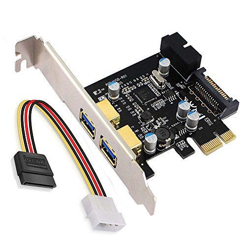 XinYuanSu PCI Express,PCI-E USB 3.0 2-Port Expansion Card,XinYS PCIe USB3.0 Card with 15Pin SATA Power Connector and 1-USB 3.0 19pin Connector -Expand Anther 2 Front USB 3.0 Ports -Black and Golden
