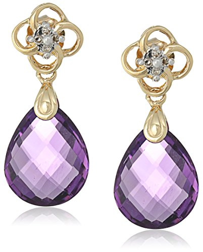 10k Yellow Gold Briolette Amethyst with Diamond Accent Stud Earrings
