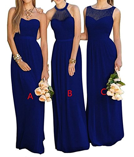 JINGDRESS Line Chiffon Evening Gowns Long Bridesmaid Dresses Three Styles Royal Blue 24W