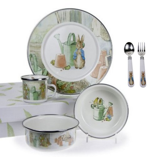 Golden Rabbit, Beatrix Potter's Peter Rabbit 4 Piece Feeding Set, Watering Can Style by Golden Rabbit (Image #1)
