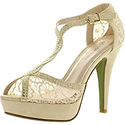 Top Moda Hy-5 Open Toe Crochet High Heel Sandals Beige 7.5 B(M) US