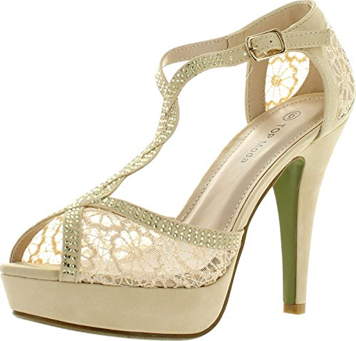 7 Inch High Heel Sandals (TOP Moda Women's Hy-5 Open Toe Crochet High Heel Beige)