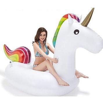 Sucastle Flotador Inflable para Piscina con Forma de Caballo del Arco Iris, con para Adultos niños Playa Fiestas de Piscina Juegos Decoraciones de salón ...