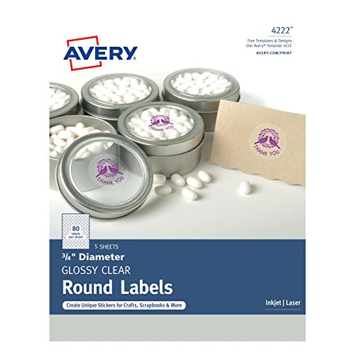 "Avery Glossy Clear Print-to-the-Edge Round Labels, 3/4"" Diameter, Pack of 400 (4222)"
