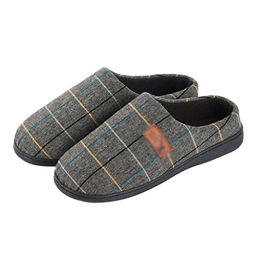 Slippers DWW Cotton Men's Simple Grid Interior Warm Non-Slip Platform Shoes Pattern 1