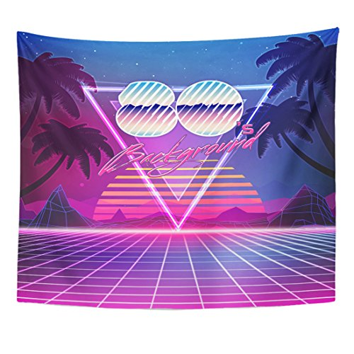 Sci Fi Landscape - Emvency Tapestry 80S Retro Sci Fi Summer Landscape Futuristic Synth Wave Home Decor Wall Hanging for Living Room Bedroom Dorm 50x60 inches