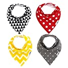 Matimati Baby Bandana Drool Bibs with Snaps, 4-Pack Super Absorbent Cotton, Unisex Baby Gift