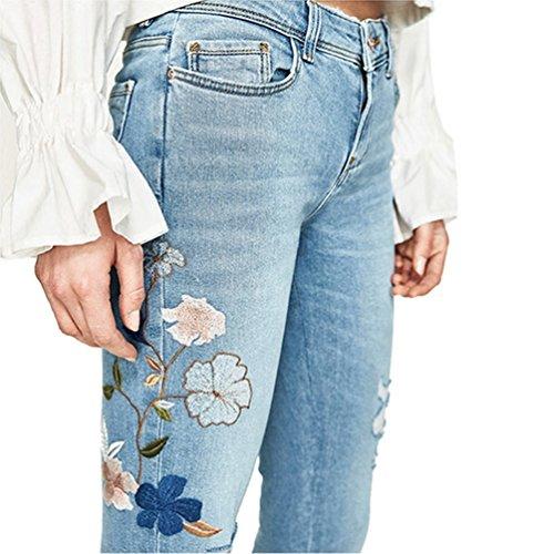 Dooxi Eleganti Ricamato Vita Moda Sciolto Donna Casuale Bassa Blu Jeans Boyfriend Denim Pantaloni aCTZCn