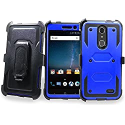 ZTE Grand X4 Case, Mstechcorp Full-body Rugged Holster Case with Built-in Screen Protector for ZTE Grand X 4 Phone with Gift (Blue)