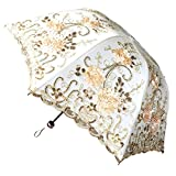 RJWKAZ UV Umbrella Sun Parasol 3 Folding 3D Flower Embroidery Wedding Vintage Lace (3D Flower-Yellow)