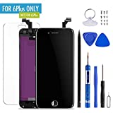 MOBIIZOO LCD Display Polarized Touch Screen Digitizer Frame Replacement Assembly Set for iPhone 6 Plus Repair Tool Kit (5.5 inch) Black