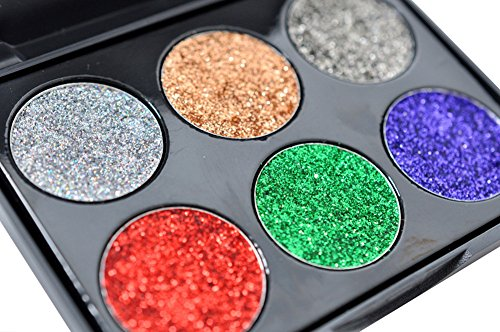 Colorful Eyeshadow Palette Collection for Halloween Makeup Party, 6 Single Metallic Eye Shadow for Women by BOYON (2#) -