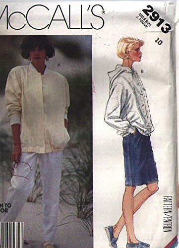 Misses Ribbed (Mccalls 2913 Sewing Pattern for Misses Hooded or Ribbed Collar Button or Snap Front Jackets with Stitched Down Side Shaped Seam Pockets Wuith Pull-on Slim Pants or Short Skirt)