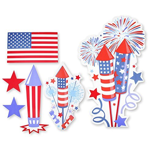 - Patriotic 4th of July Uncle Sam Decoration Signs Multi Colored Assortment Red White And Blue Flag Design For Outdoor Lawn Patio and Garden Yard Stakes Includes 6 Cut-outs