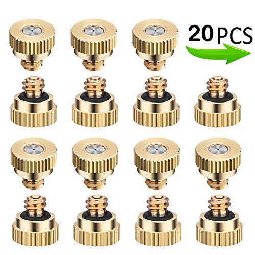 20 Pack Brass Misting Nozzles Tees, Brass Spray Nozzles for Greenhouse Landscaping, Dust Control Mist Nozzle Sprinkler for Outdoor Cooling System 0.012 Orifice (0.3 mm) 10/24 UNC Garden
