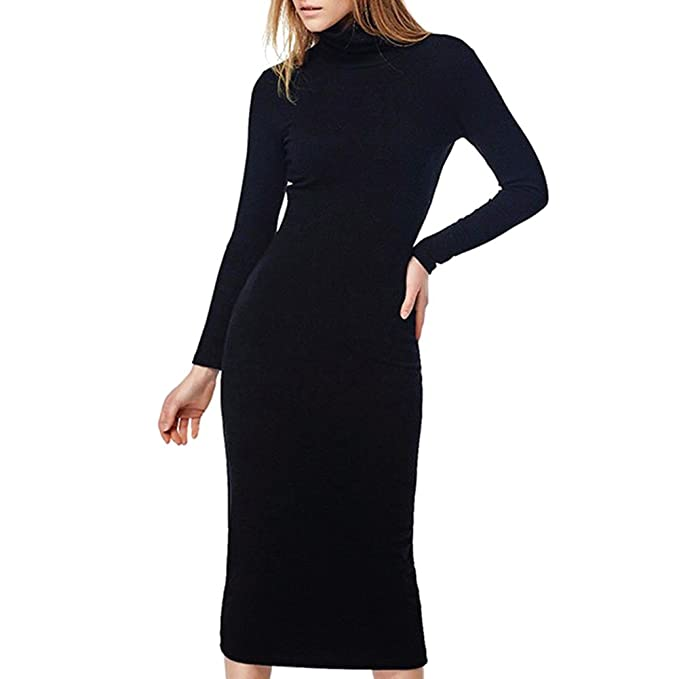 Hibote Womens Dresses Knee Length Dresses Long Sleeves Dress Turtleneck Bodycon  Dresses Slim Solid Autumn Winter Spring Red Green Black S-XL  Amazon.co.uk   ... fec4e500449d
