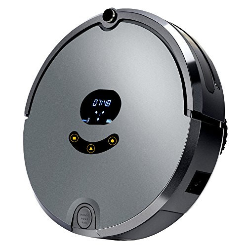 Esea High Suction, Self-Charging Robotic Vacuum Cleaner with Drop-Sensing Technology for Carpet & Hardwood Floor, Grey