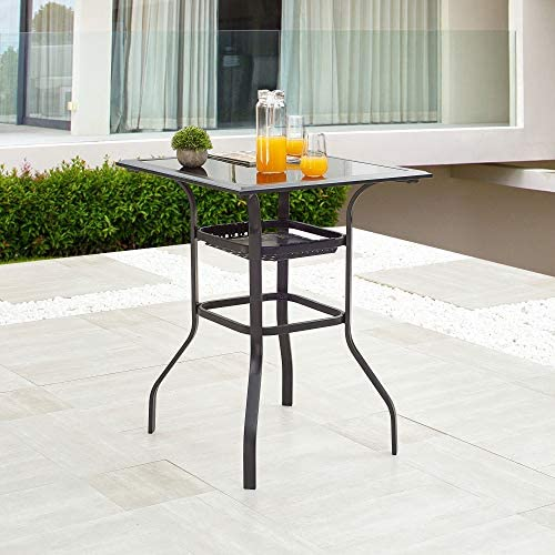 LOKATSE HOME Square 2-Tier Side Tea Small Patio Table