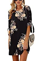VNOOK Women's Dresses Summer Floral Print Bohemian Roll up Sleeve Casual Shirt Dress