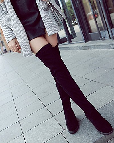 Winter Faux Knee The Womens Riding Low Black Over Thigh Heel Boots Suede Maybest Tall fw5Cq11