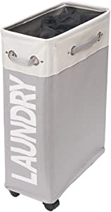 comfortez Slim Rolling Laundry Hamper Foldable Laundry Basket with Handle on Wheels (Beige Plus Light Grey)