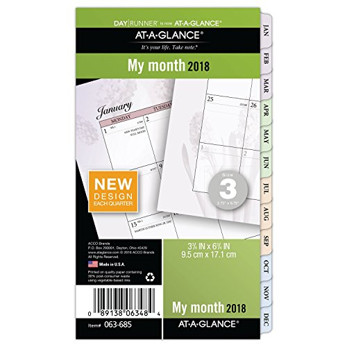 "AT-A-GLANCE Day Runner Monthly Planner Refill, January 2018 - December 2018, 3-3/4"" x 6-3/4"", Loose Leaf, Size 3, Nature (063-685)"
