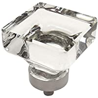 10 Pack - Cosmas 6377SN-C Satin Nickel Cabinet Hardware Square Knob with Clear Glass - 1-3/8
