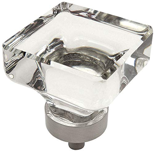 (10 Pack - Cosmas 6377SN-C Satin Nickel Cabinet Hardware Square Knob with Clear Glass - 1-3/8