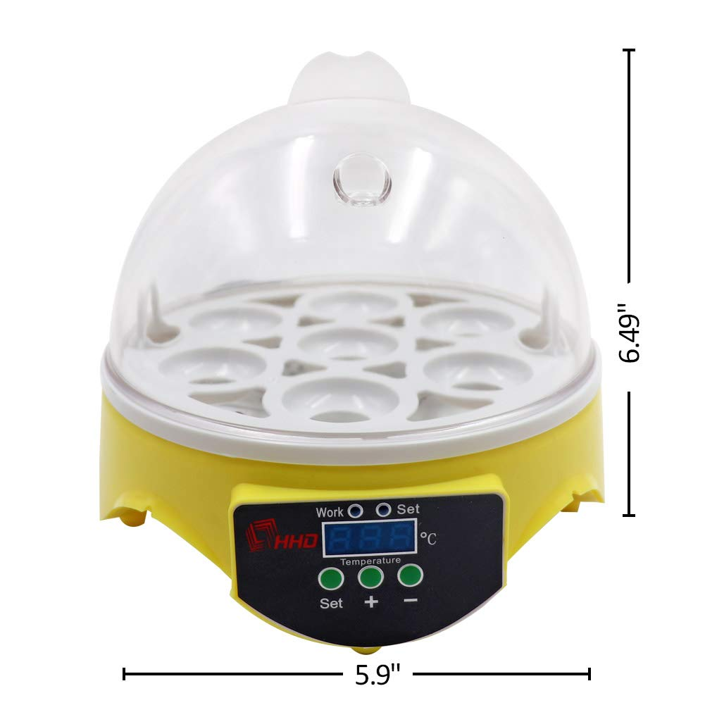M.Z.A Mini Automatic 7 Egg Incubator Digital Chicken Poultry Hatcher Egg Hatcher Incubator with Automatic Temperature Control by M.Z.A (Image #5)