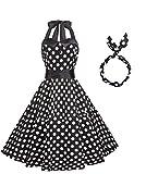 BI.TENCON Women's 1950s Vintage Halter Dresses with Black White Polka Dots Printed Swing Cocktail Party Dresses L