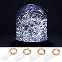 LeMorcy LED Starry String Lights, 4-Pack 6.6ft 20 Micro Starry LED Copper Wire lights With 8PCS CR2032 Batteries For Gardens, Lawn, Patio, Parties, Wedding Centerpiece, Table Decoration (White)